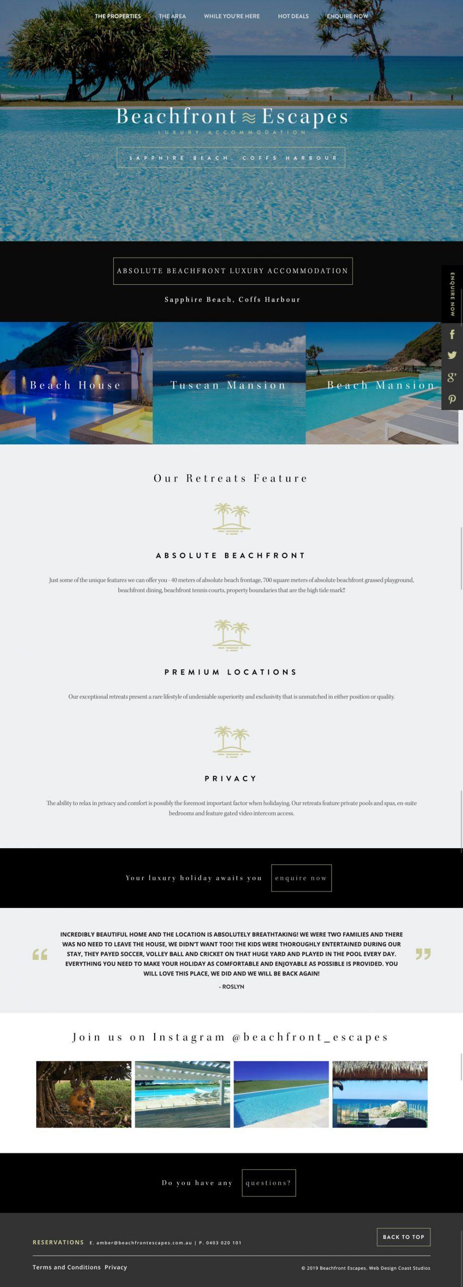 Website Design & Development for Beachfront Escapes