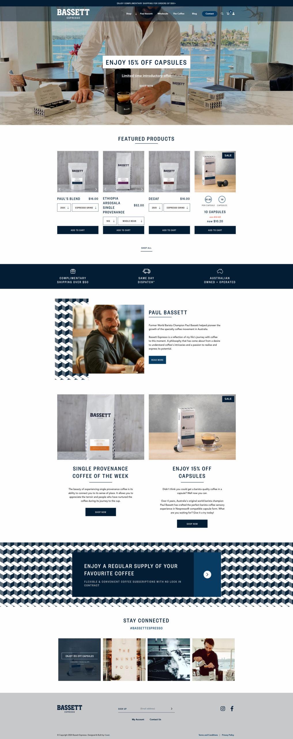Website Design & Development for Bassett Espresso